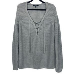 Brunette the Label Lace Up Knit Sweater in Grey